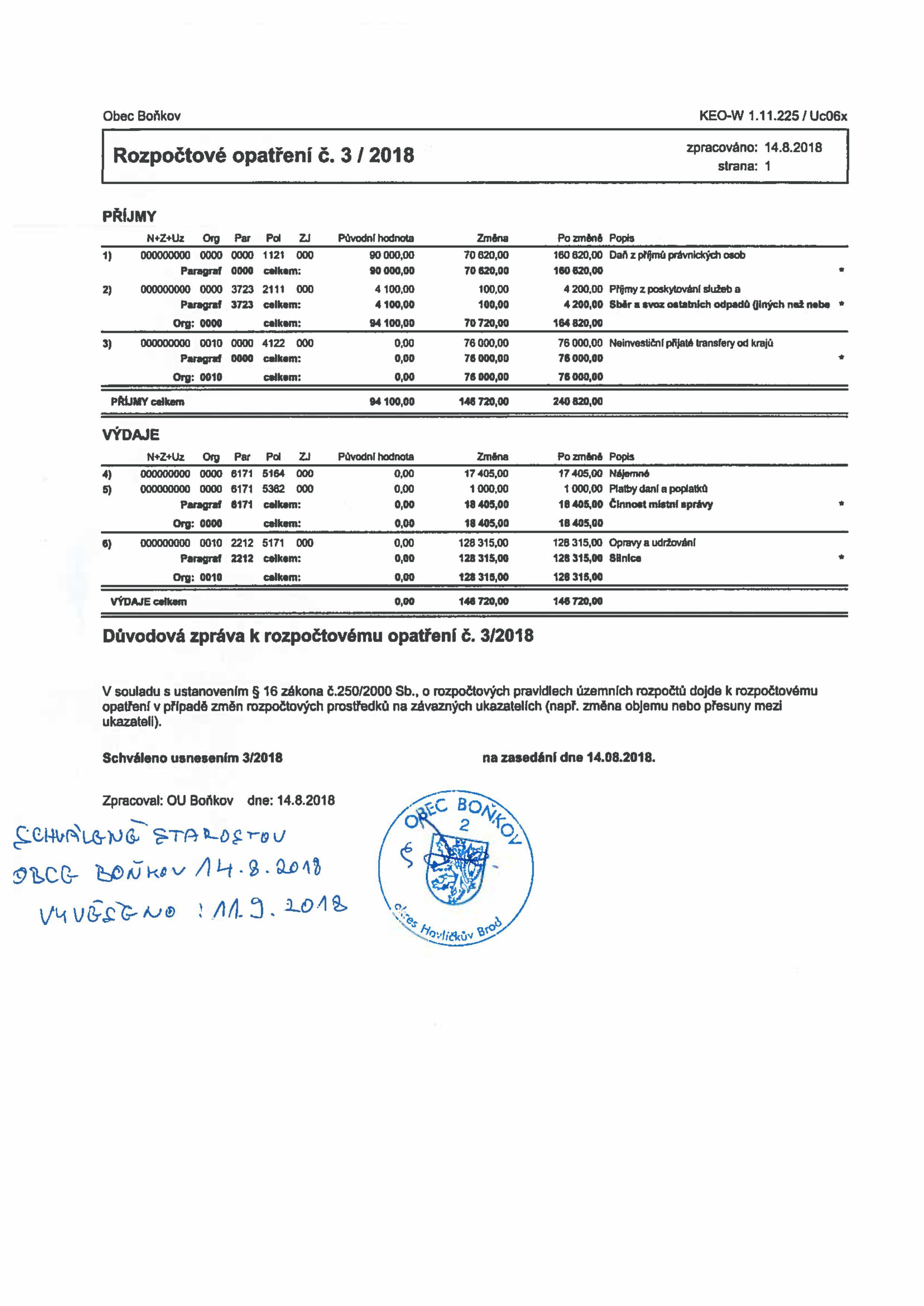 Rozpočtové opatření č. 3/2018