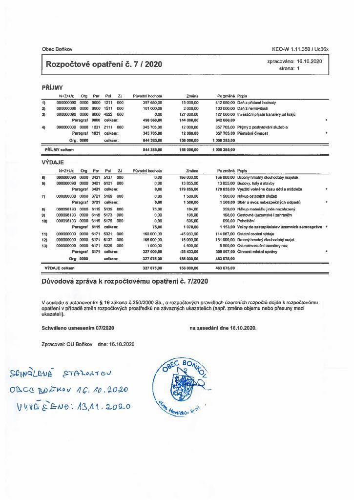 Rozpočtové opatření č.7/2020