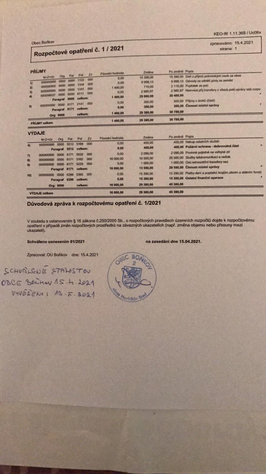 Rozpočtové opatření č.1/2021