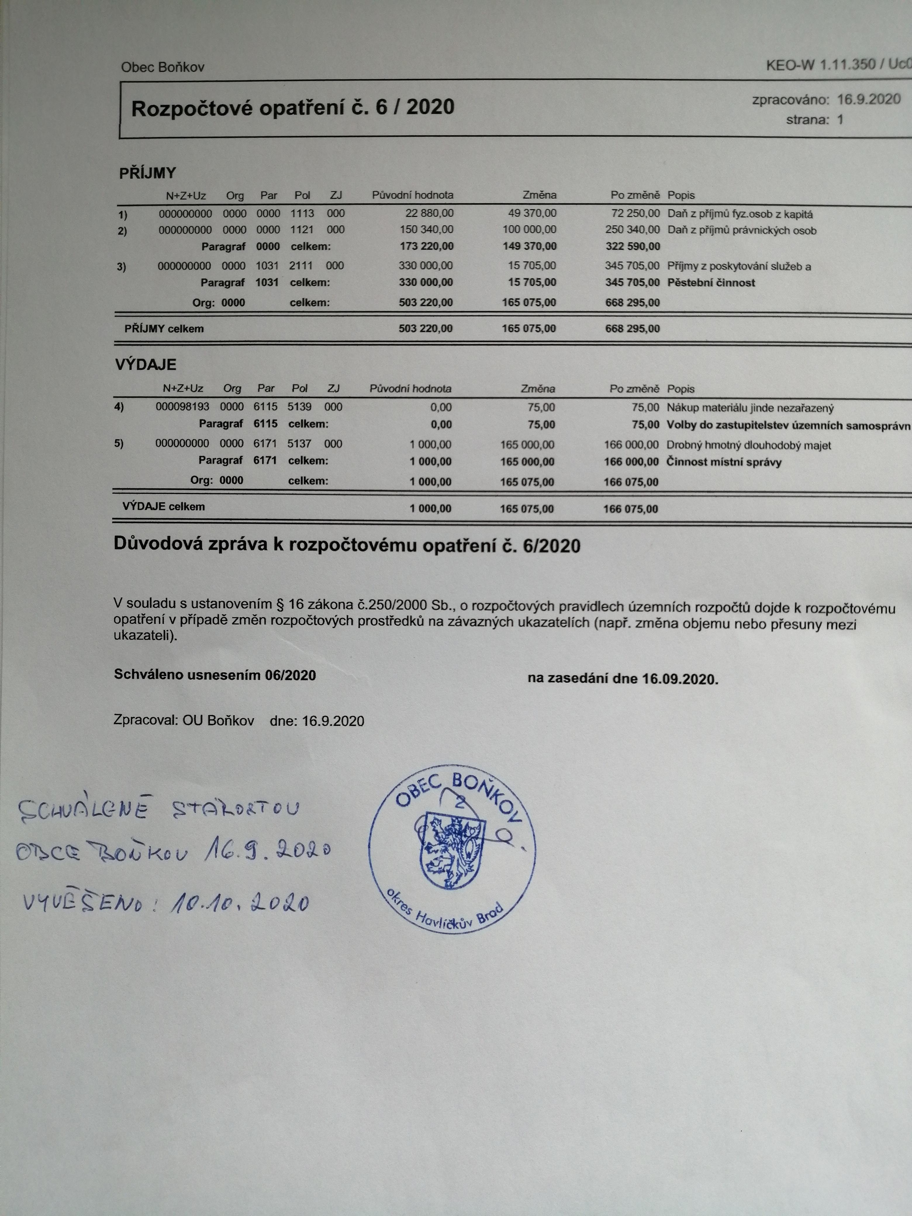 Rozpočtové opatření č.6/2020