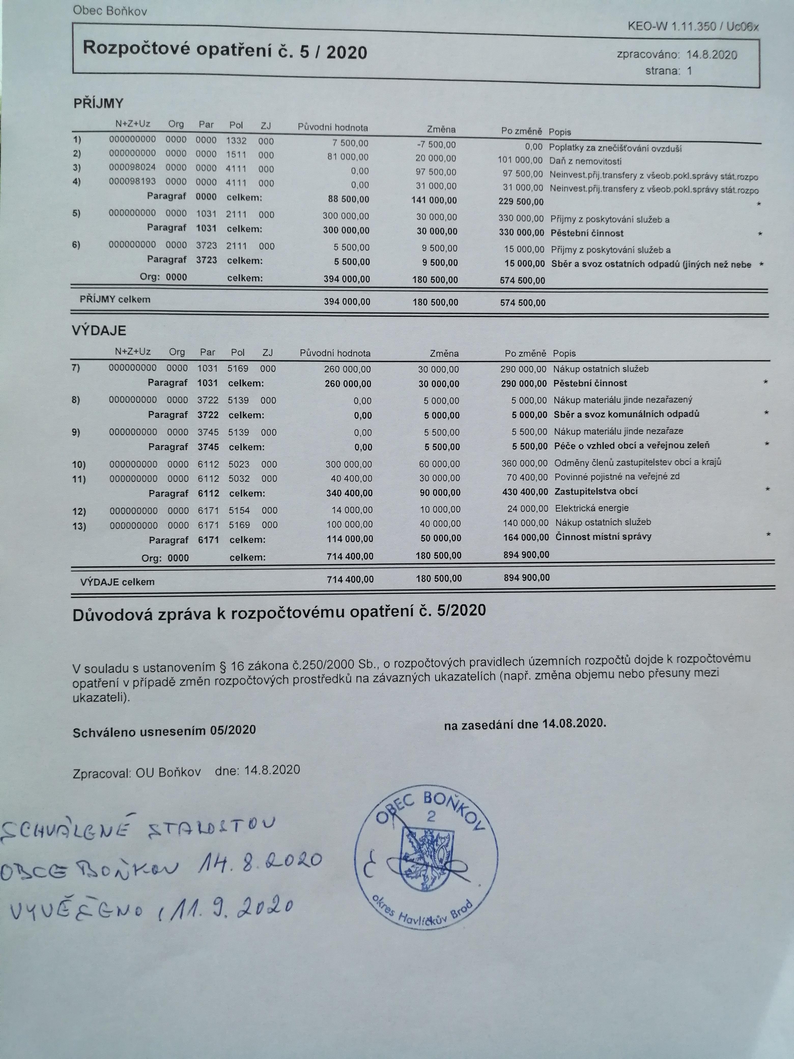 Rozpočtové opatření č. 5/2020