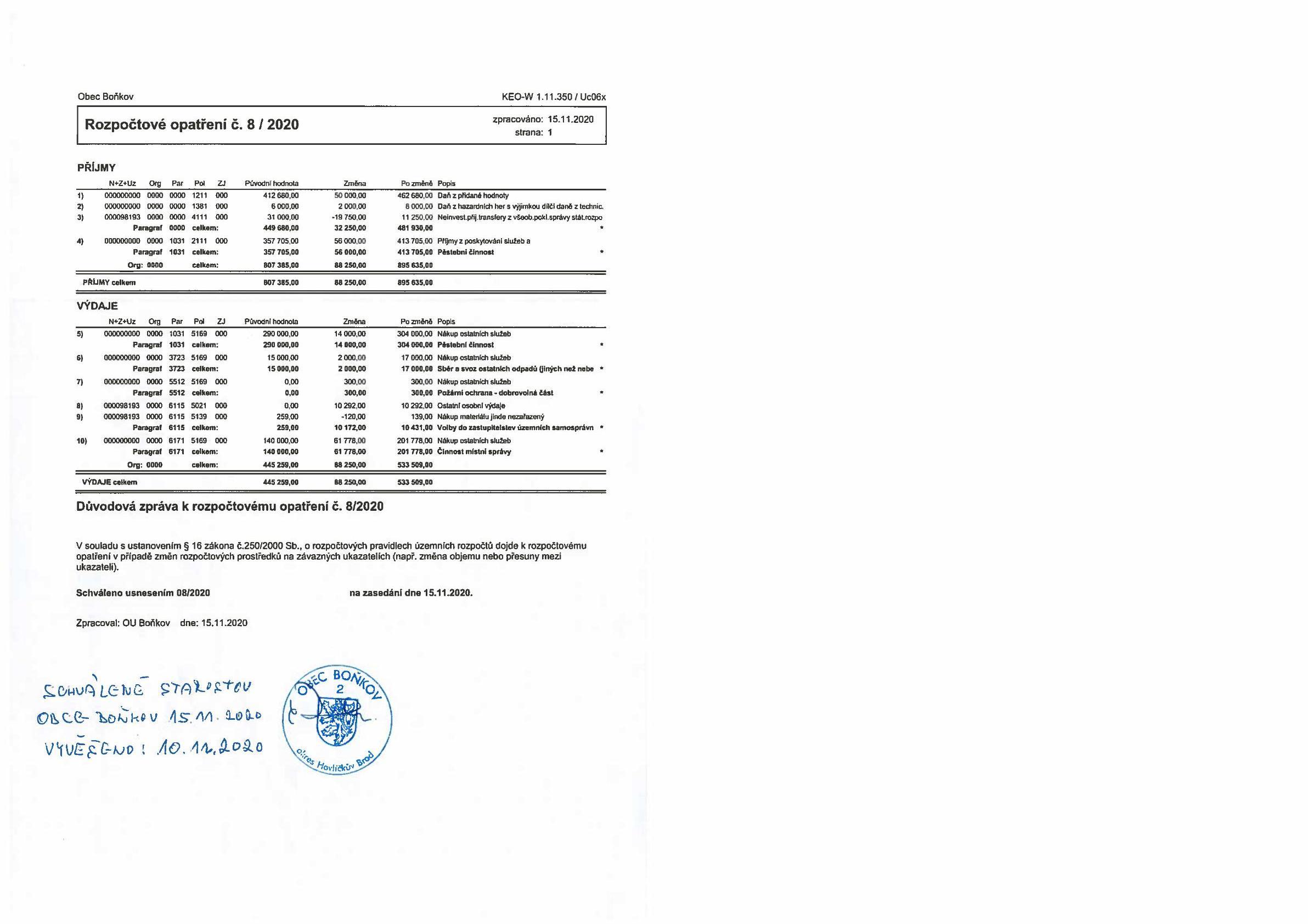 Rozpočtové opatření č.8/2020