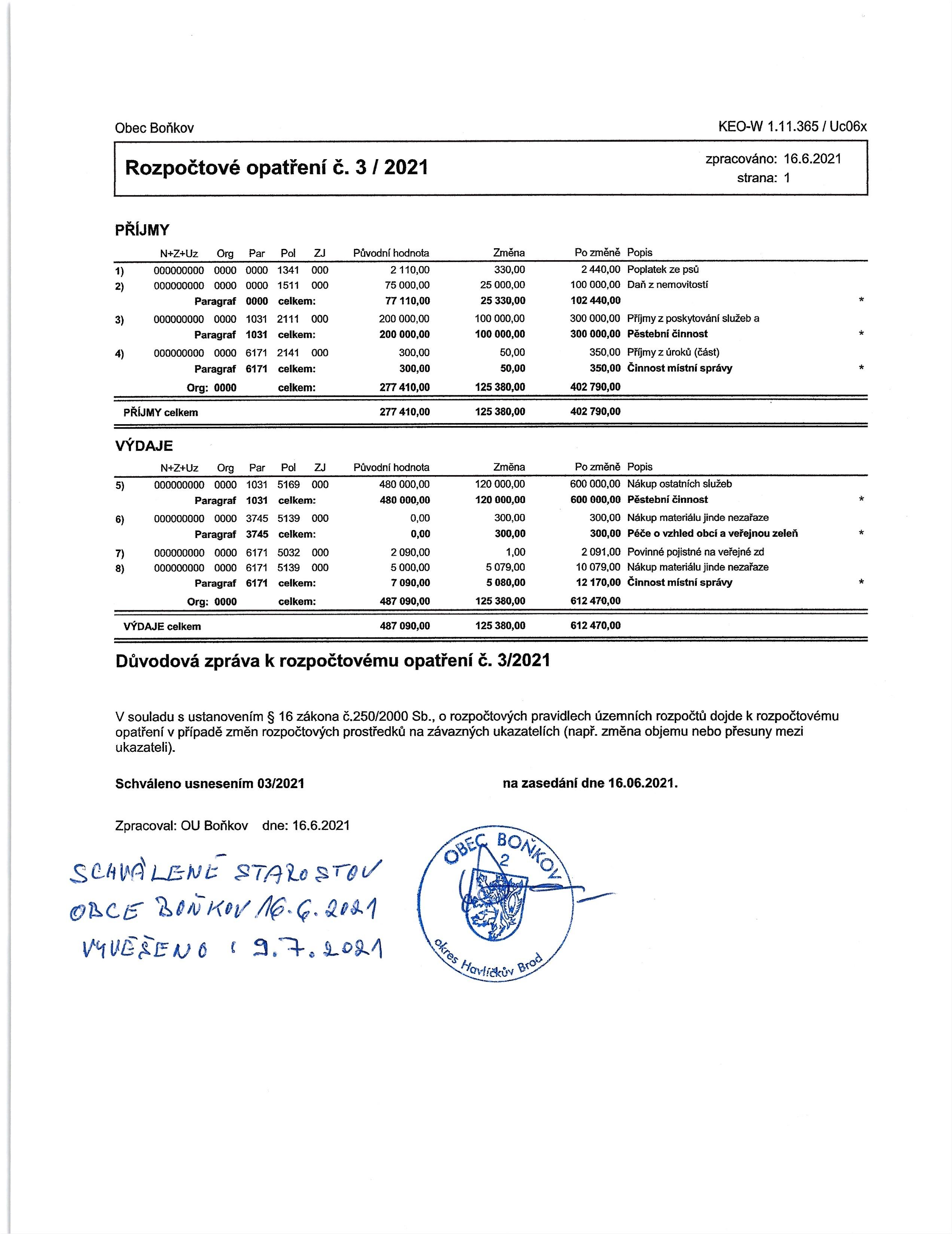Rozpočtové opatření č.3/2021