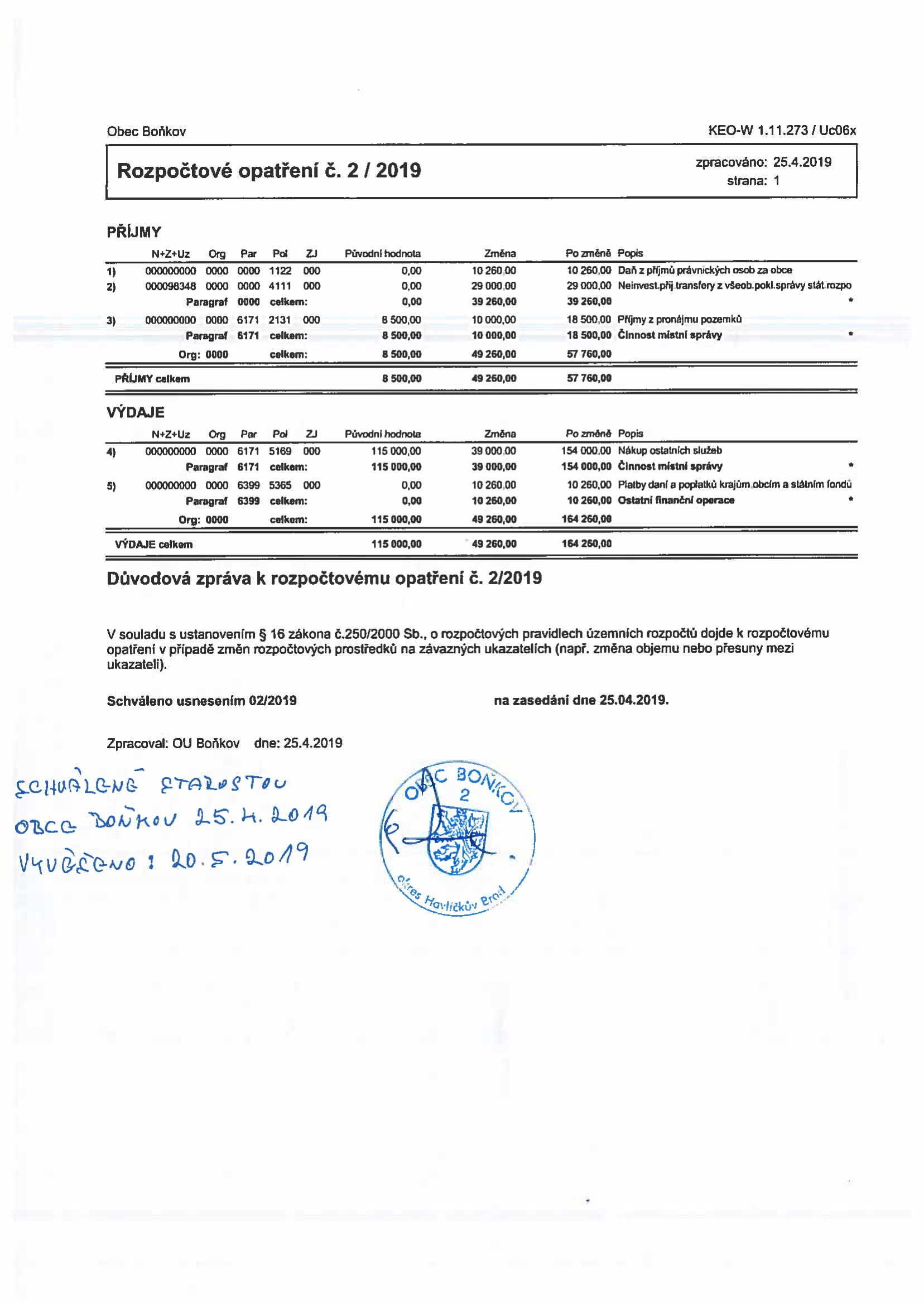 Rozpočtové opatření č.2/2019