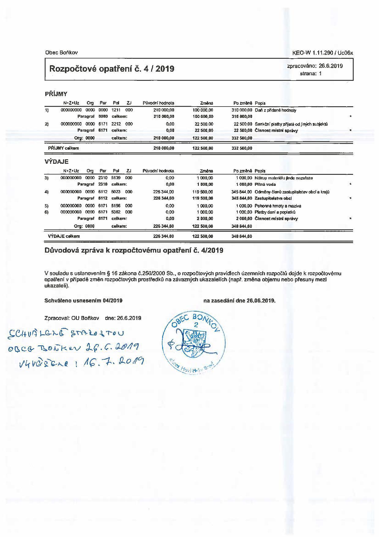 Rozpočtové opatření č.4/2019