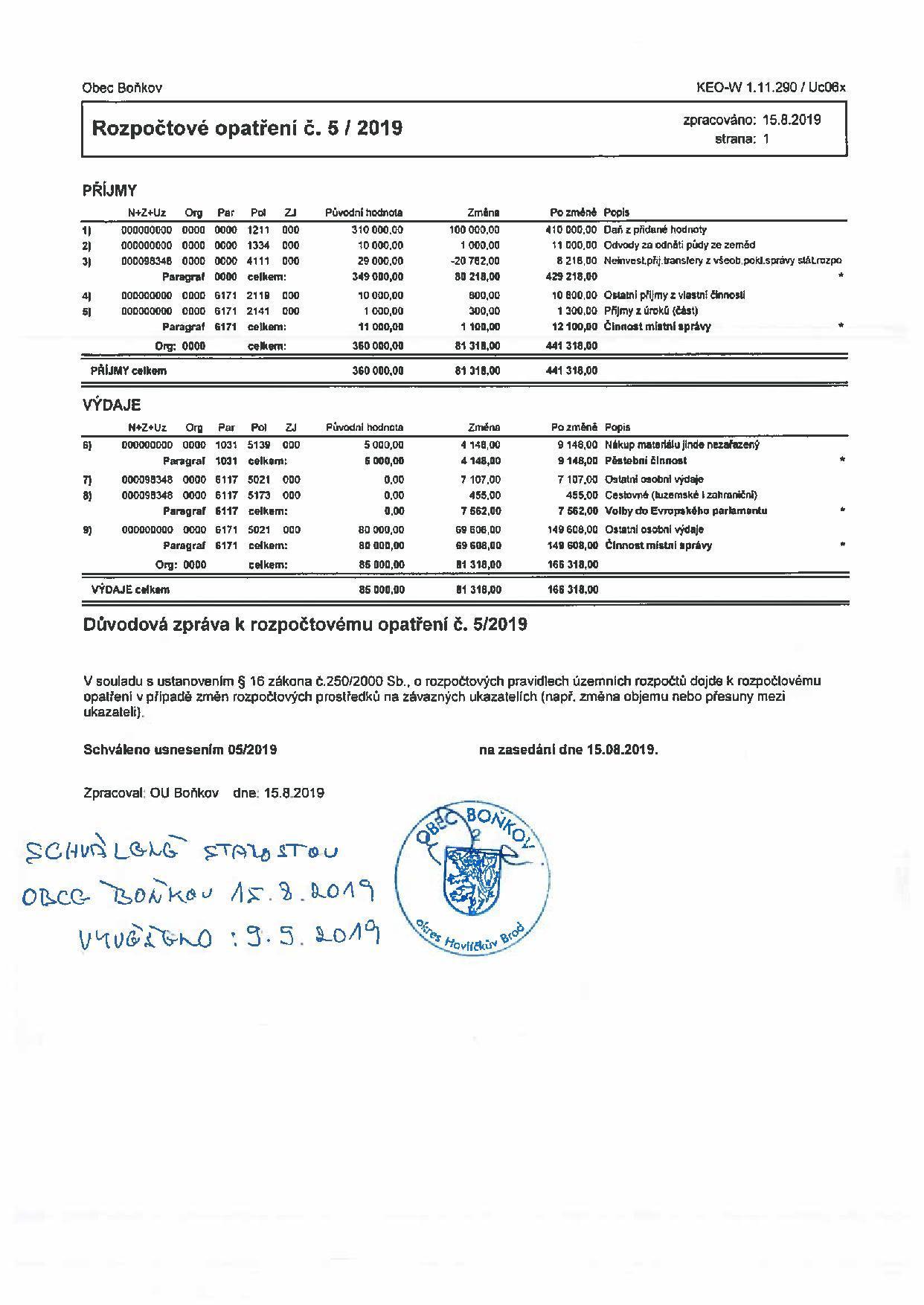 Rozpočtové opatření č.5/2019