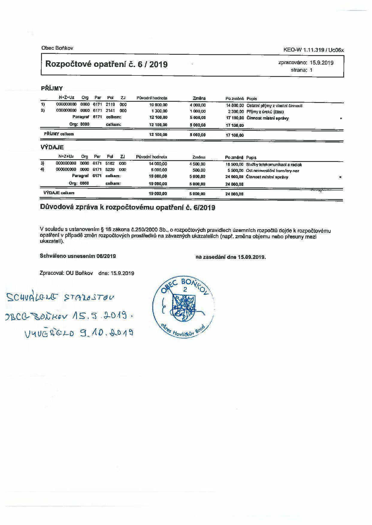Rozpočtové opatření č.6/2019