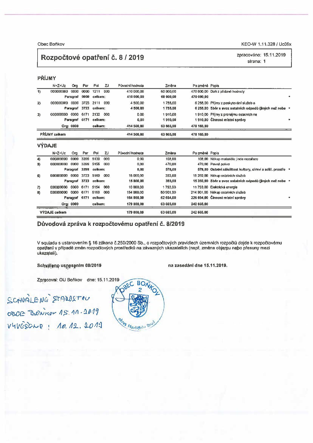 Rozpočtové opatření č.8/2019
