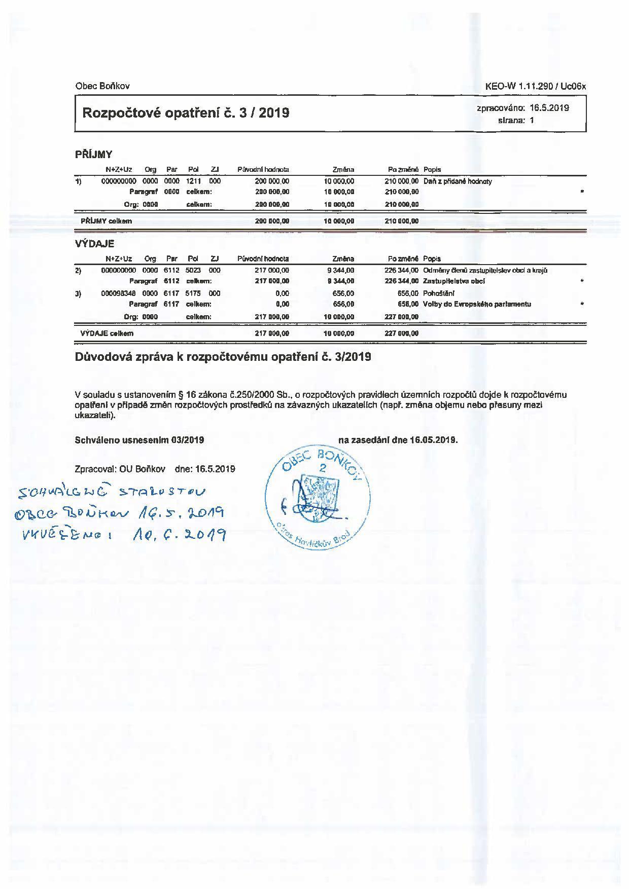 Rozpočtové opatření č.3/2019