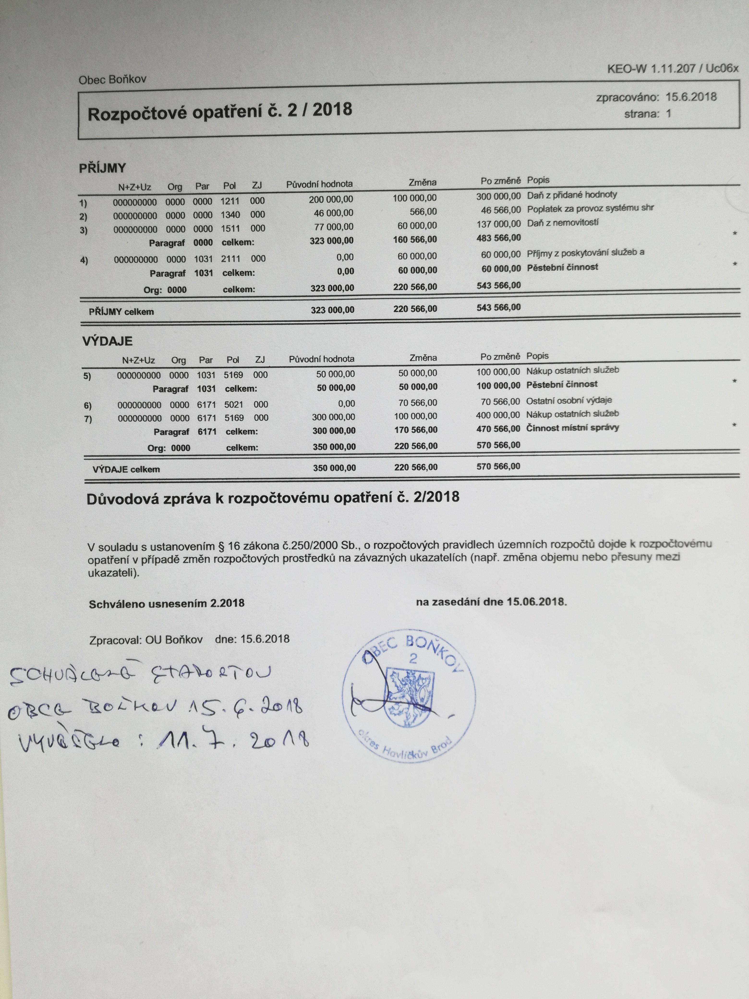 Rozpočtové opatření č.2/2018